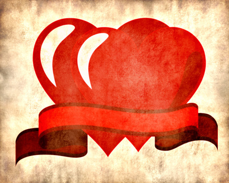 two hearts: Vintage stylized illustration of Two hearts tied with a red ribbon Valentine card on parchment background