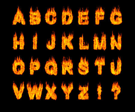 burning: Set of burning Latin alphabet letters. Artistic font. Digital illustration isolated on black background.