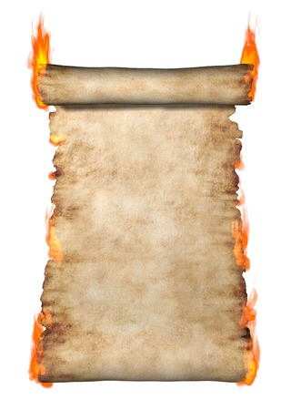 Burning vintage roll of parchment background isolated silhouette on white photo
