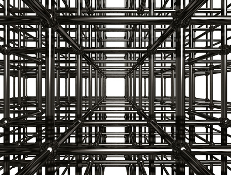 chrome base: Abstract shining chrome metal girder structure. Conceptual 3D illustration. Construction industry material manufacturer abstract concept