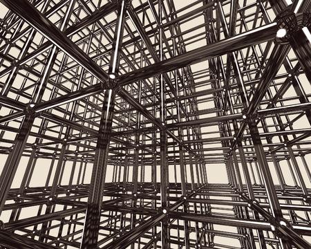 chrome base: Astratto brillante cromo struttura trave metallica. Illustrazione concettuale 3D. Edilizia produttore del materiale concetto astratto