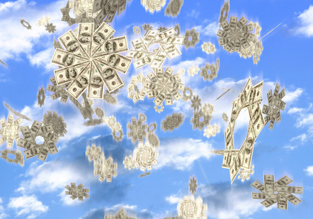 Conceptual 3D illustration of snowflakes made from hundred dollar bills falling from the sky Easy money Lottery prize concept Isolated on white background illustration