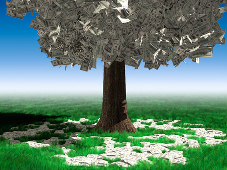 grow money: Money tree with hundred dollar bills growing on it and lying on green grass under it. Investment concept