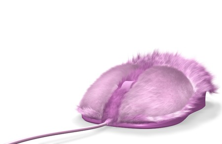 Pink furry computer mouse isolated on white background photo
