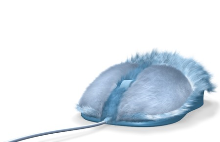 Blue furry computer mouse isolated on white background photo