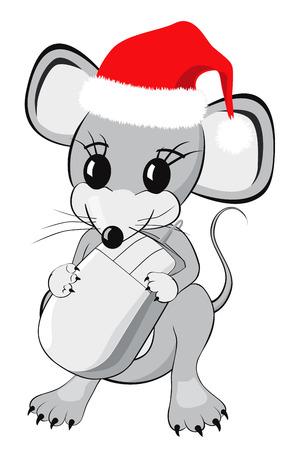 raton caricatura: Personaje de dibujos animados del ratón pequeño en un sombrero rojo de Navidad la celebración de un ratón de ordenador aislado en fondo blanco