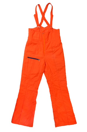coverall: Orange construction worker pants isolated silhouette on white background with clipping path