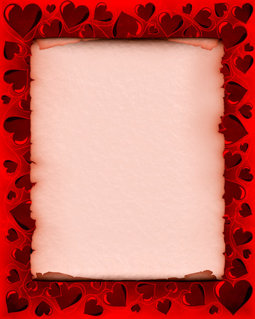 vintage parchement: Valentines day background frame with heart shaped ornament around a piece of parchment