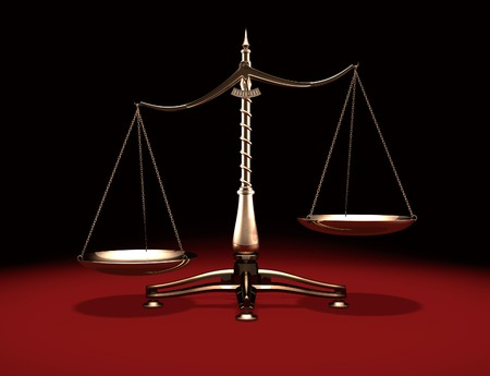biased: Biased brass weight scales Law and Justice symbol Isolated on black red background
