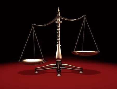 biased: Biased peso in ottone scale Legge e Giustizia simbolo isolato su sfondo nero rosso Archivio Fotografico