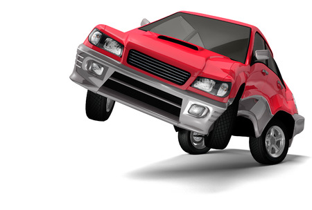 auto service: Red car standing on its rear wheel and looking at the camera Auto insurance Car rental Auto service and repair concept Isolated 3D illustration on white background Stock Photo