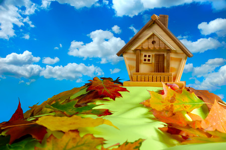 Wooden house on a hill covered with fallen autumn leaves under blue cloudy sky photo