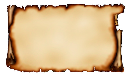 Old piece of parchment with torn burnt edges yellowish vintage paper background isolated on white with a clipping path Stock Photo