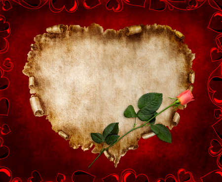 vintage parchement: Heart-shaped vintage piece of parchment with a red rose on it. Valentines Day Card romantic love letter on red background.