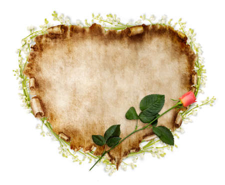 art piece: Heart-shaped vintage piece of parchment with a red rose on it. Valentines Day Card romantic love letter background isolated on white. Stock Photo