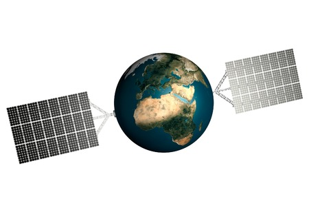 sources: Planet Earth with solar panels attached to it. Solar power, Environmental technologies and sustainable power sources concept. Isolated on white background.