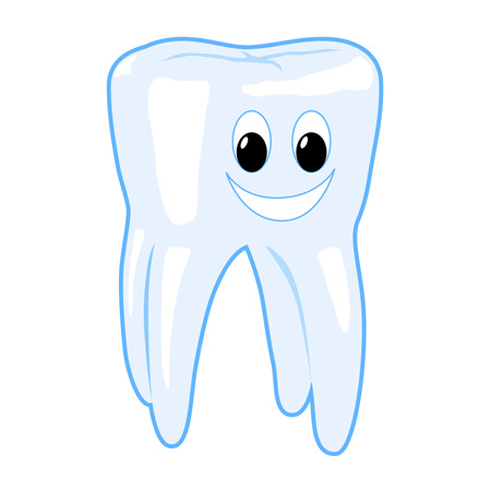 Smiling healthy tooth vector illustration isolated on white background illustration