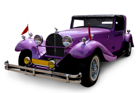 custom car: Classic restored custom vintage car isolated on white background with a clipping path