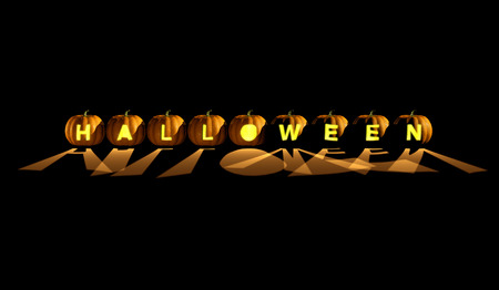 carved letters: 3D illustration of Halloween word spelled by jack-o-lanterns with carved letters