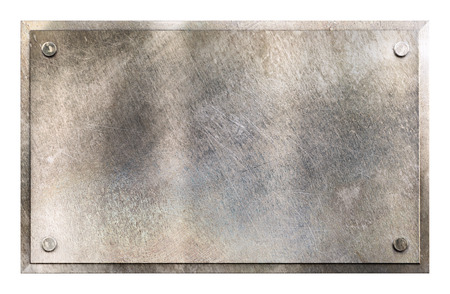 scratches: Rustic shiny gray metal sign plate with rivets texture background isolated on white