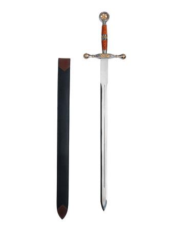 scheide: Fantasy-Schwert und Mantel isoliert auf weißem Hintergrund mit Beschneidungspfad Lizenzfreie Bilder