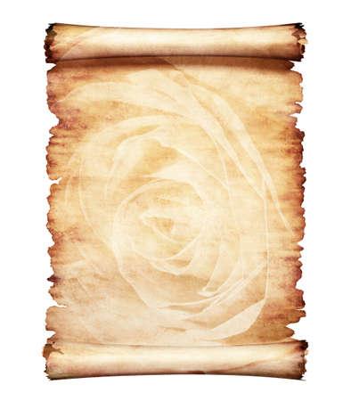 vintage parchement: Old piece of parchment paper with romantic rose floral design artistic letter background