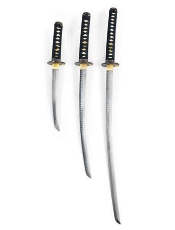 wakizashi: Three Japanese samurai swords, Katana, Wakizashi and Tanto, isolated on white background