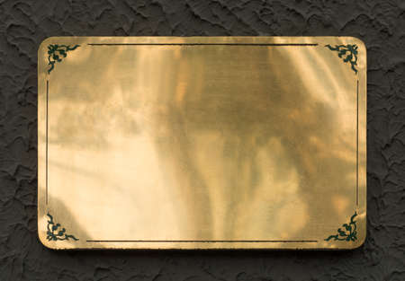 polished: Shiny brass yellow metal sign plate texture isolated with clipping path