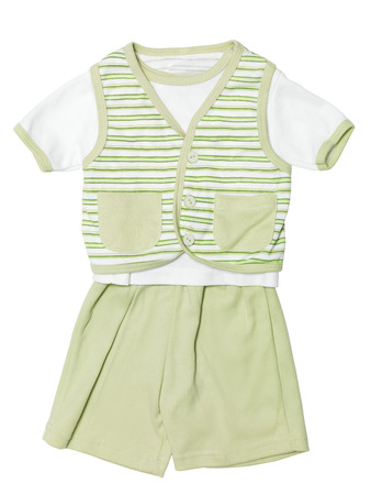 striped vest: Baby boys green striped outfit, shirt, vest and shorts, clothing set isolated on white background with clipping path