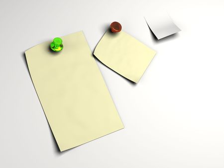 Blank white note pinned in high resolution and isolated background. Text can easily be added. photo