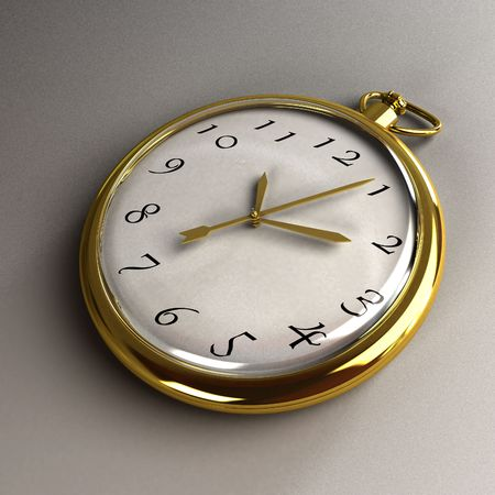 Gold pocket beautiful hours on grey background photo