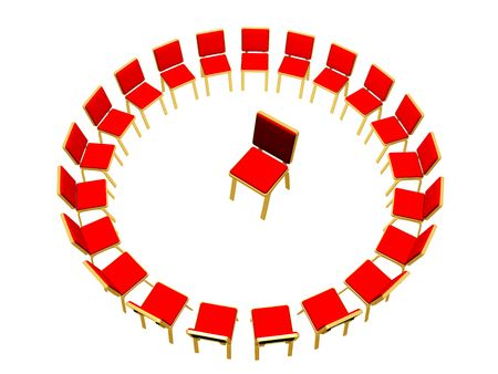 constructed: Chairs constructed in circle for carrying out of conversation on psychological themes