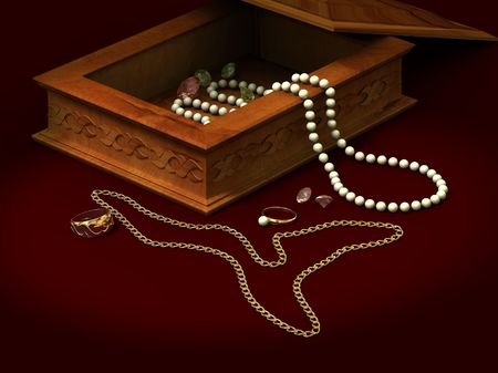 brilliants: Casket of an ornament pearls brilliants ring chain beads