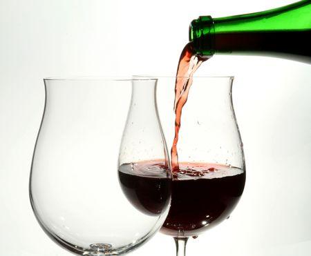 inebriated: red wine glass Stock Photo