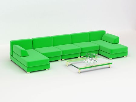 big folding sofa from several interchangeable modules Stock Photo