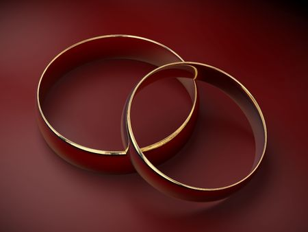 Two wedding ring on a red background 3D Stock Photo - 870994