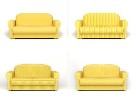 insulated: sofa on white background insulated 3d