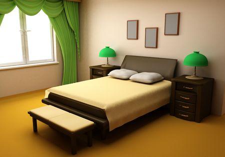cosy bedroom interior 3d photo