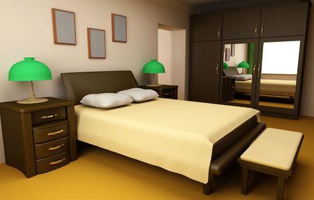 cosy bedroom interior 3d Stock Photo - 1980137