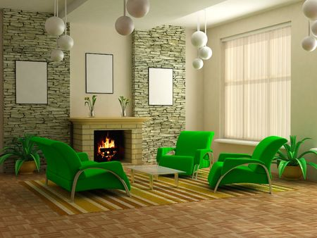 modern interior design with fireplace and sofas Stock Photo - 1980138