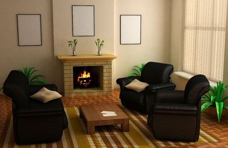 modern interior design with fireplace and sofas Stock Photo - 1980139