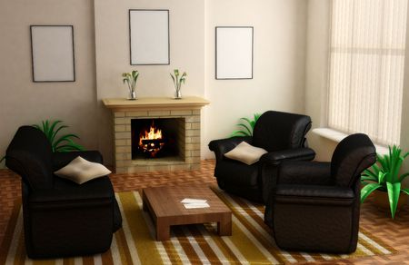 modern interior design with fireplace and sofas Stock Photo - 1980136
