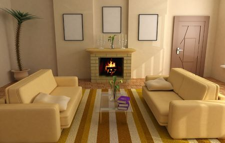 modern interior design with fireplace and sofas