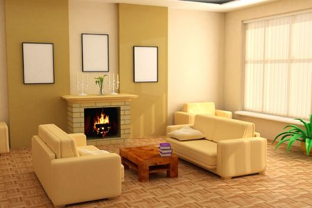modern interior design with fireplace and sofas Stock Photo - 1980123