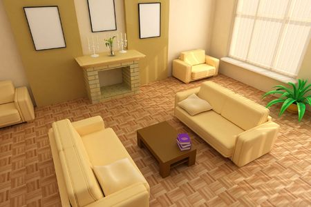 modern interior design with fireplace and sofas Stock Photo - 1980127