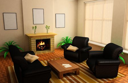 modern interior design with fireplace and sofas photo