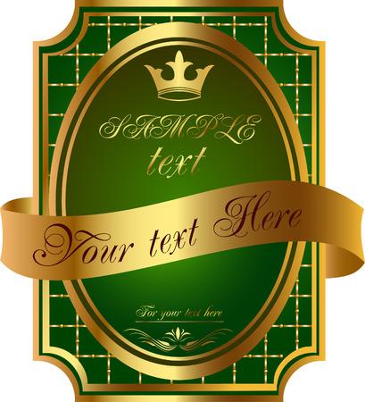 Gold frame label heraldic illustration