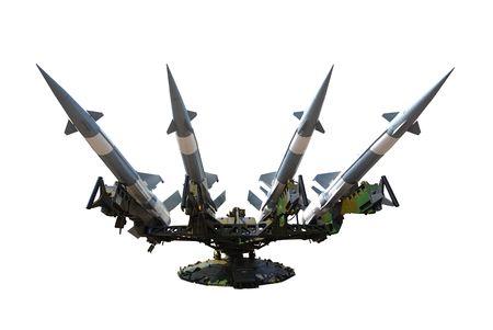 militia: Rocket of antiaircraft defense on a white background