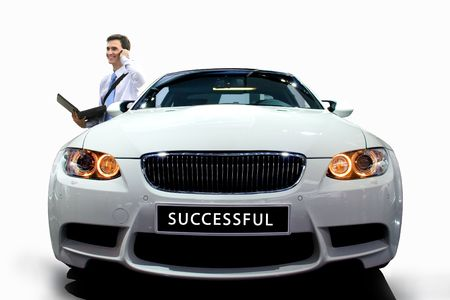 successfull: Young businessman by modern white car on white isolated
