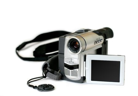 amateur: amateur video camera with revolving display on white background